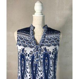 Blue and White Paisley Boho Maxi Dress by En Crèmè